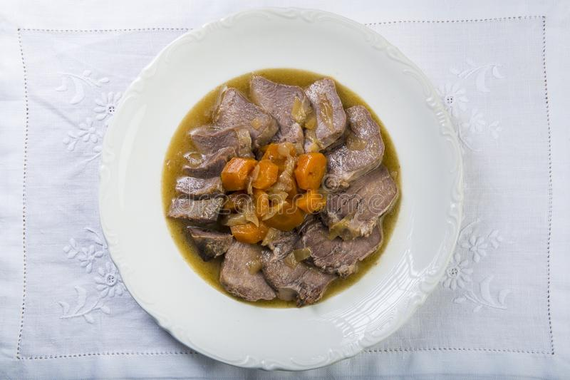 Stewed wieprzowina jęzoru hiszpańszczyzn styl fotografia royalty free