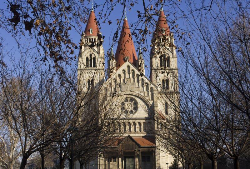 StFrancis Assisi kościół w Wiedeń w zima sezonie zdjęcia stock