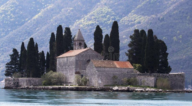 StGeorge修道院和海岛看法  库存图片