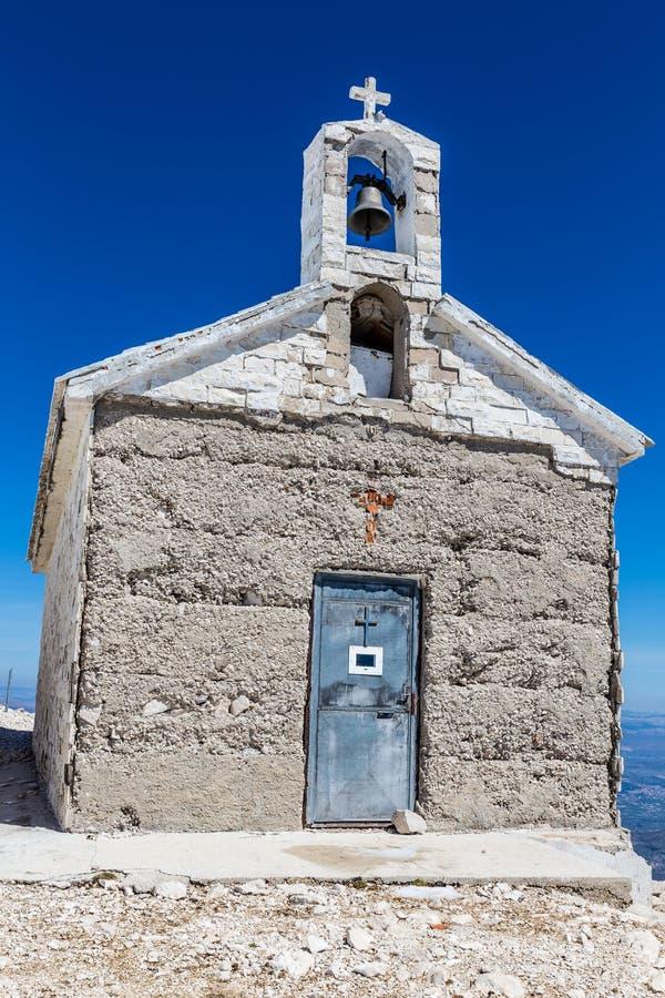 StGeorge山Biokovo的,克罗地亚教堂 免版税库存图片
