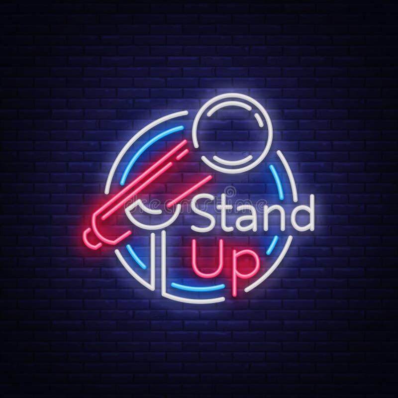 Stia sulla commedia è un'insegna al neon Logo al neon, simbolo, insegna luminosa luminosa, manifesto stile neon, notte luminosa illustrazione di stock