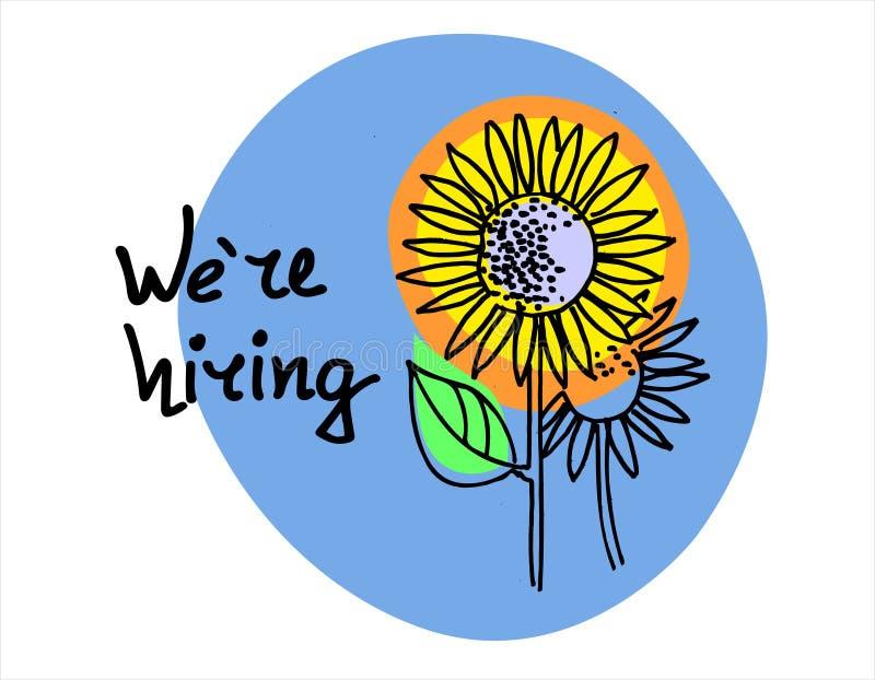 Stiamo assumendo Insegna disegnata a mano di assunzione Concetto degli entrambi ricerca di migliori impiegati ed inseguimento di  illustrazione vettoriale