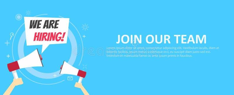 Stiamo assumendo l'insegna Faccia parte della nostra squadra Fondo blu e mani che tengono un megafono illustrazione di stock