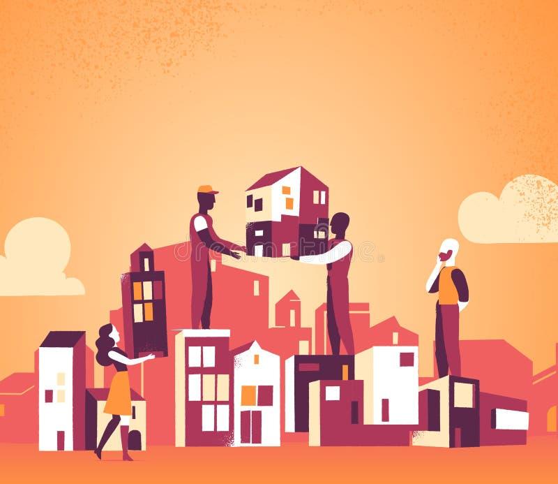 Stiamo progettando domani la nostra città per un migliore illustrazione vettoriale
