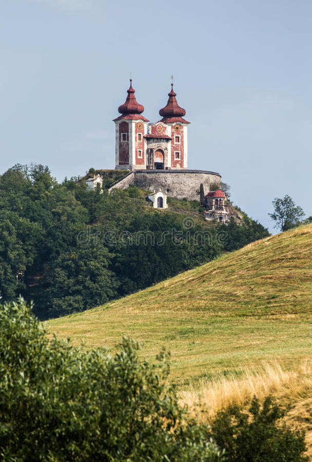 Stiavnica de Banska - Slovaquie Le calvaire de Stiavnica image libre de droits