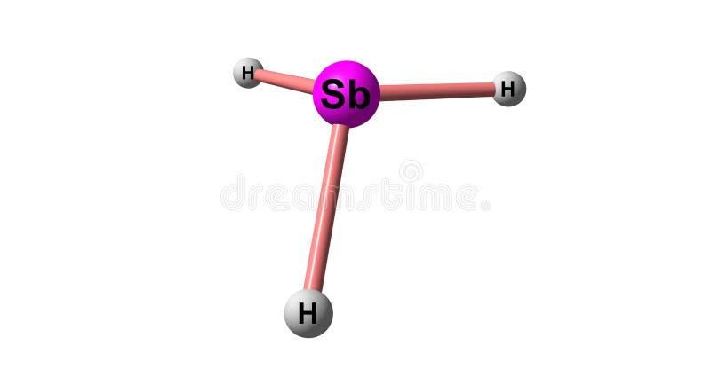 Stibine molekylär struktur som isoleras på vit royaltyfri illustrationer