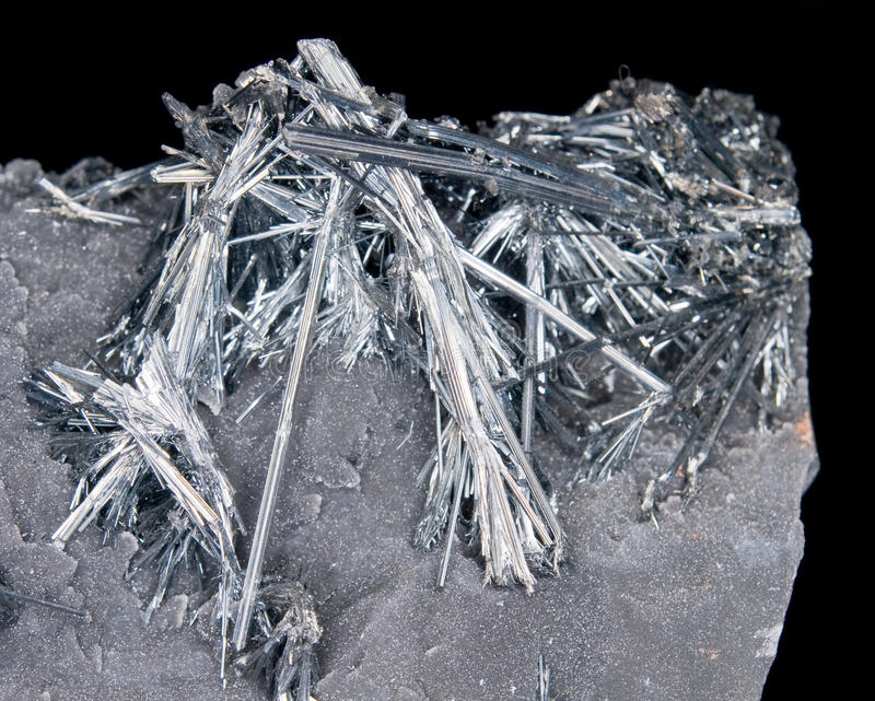 Stibnite Crystals Royalty Free Stock Photo