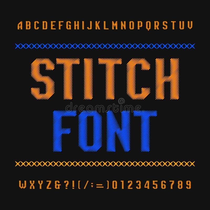 Stichalphabetguß Stickereiweinleseschriftbild auf dunklem Hintergrund Schreiben Sie Buchstaben und Zahlen vektor abbildung