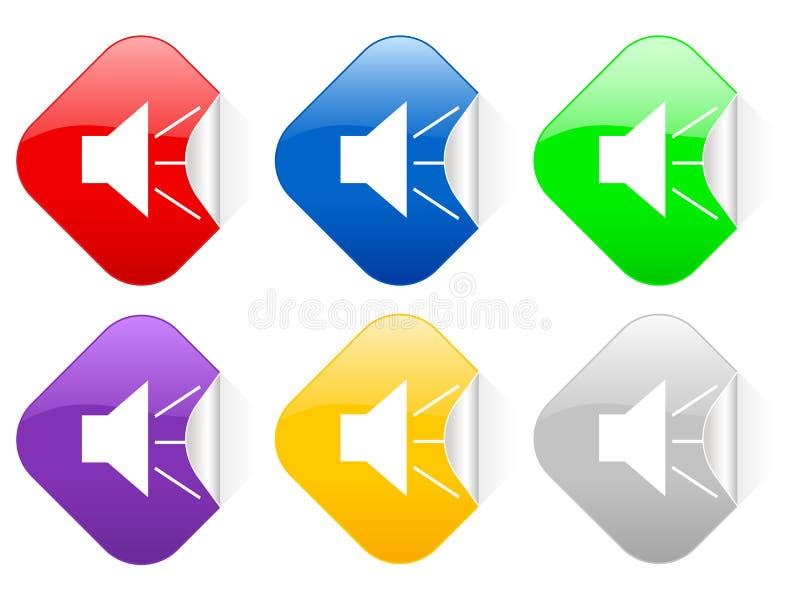 Stichhaltige quadratische Aufkleber stock abbildung