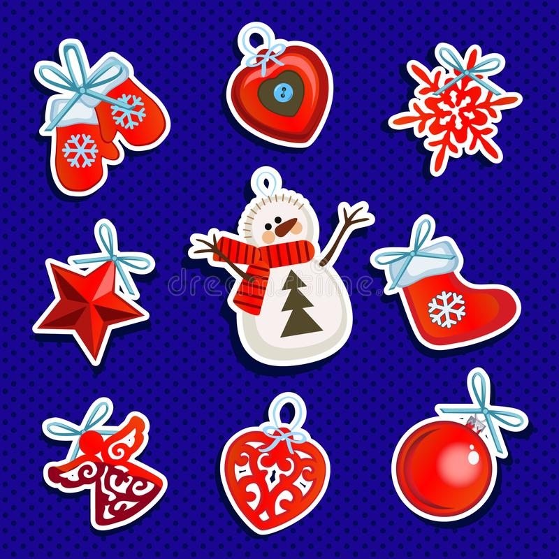 Stichprobenplanpackpapier mit Attributen des neuen Jahres und des Weihnachten Skizze des Plakats, Parteieinladung und vektor abbildung