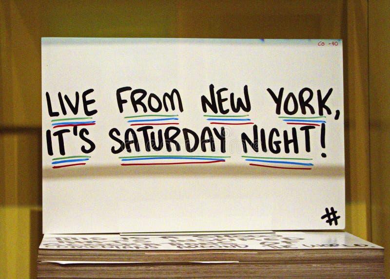 Stichwort-Karten an SNL-Ausstellung in NYC lizenzfreies stockfoto