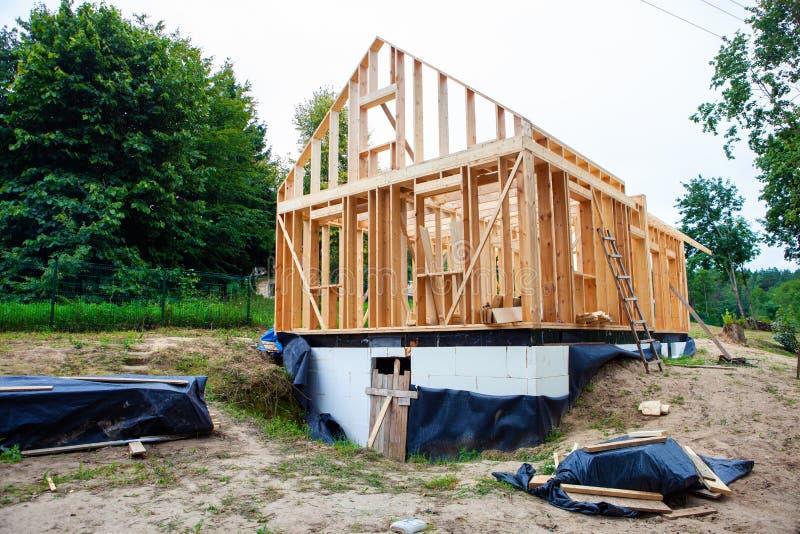 Stick built home under construction stock photos
