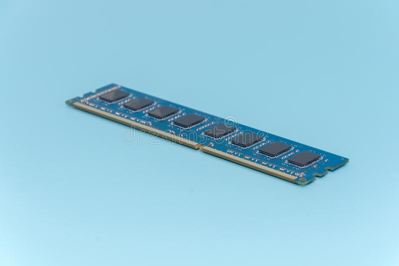 Stick of computer random access memory RAM. On blue background royalty free stock photography
