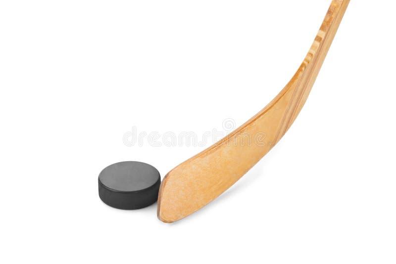 stick för hockeyispuck royaltyfria bilder