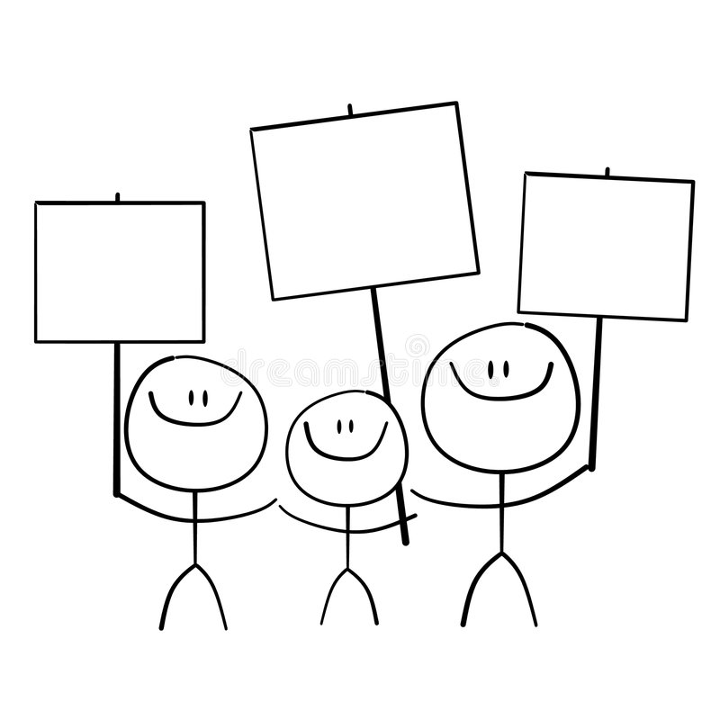 Stick Family Holding Signs stock illustration
