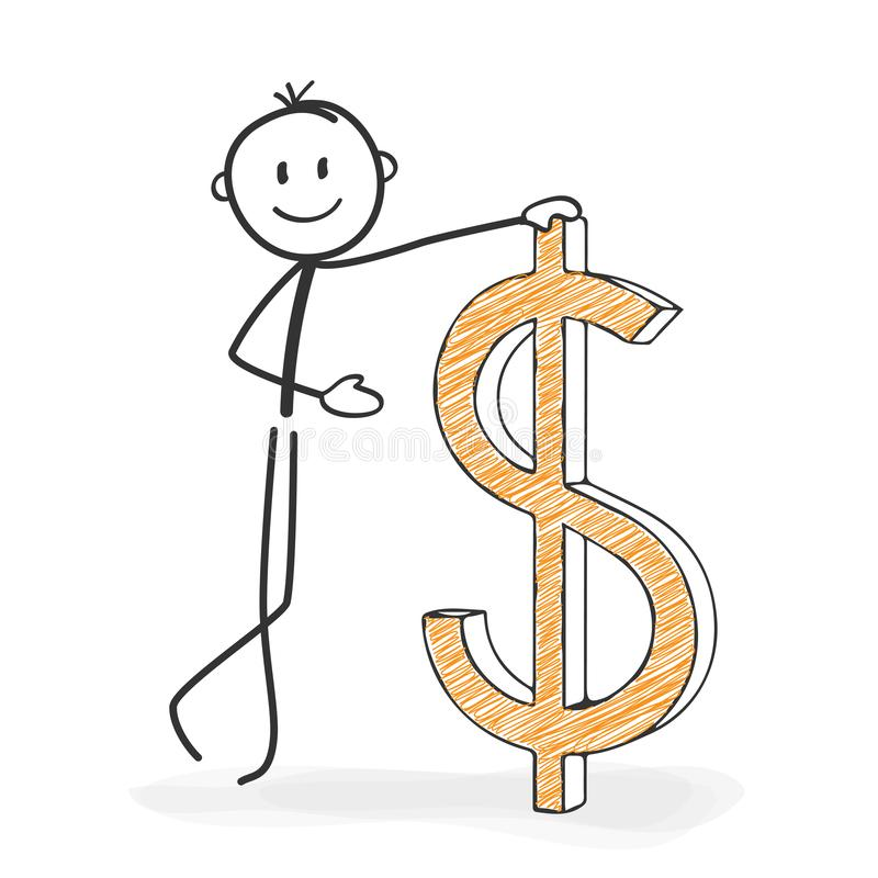 Stick Figure Cartoon - Stickman with a Dollar Icon. Stick Figure in Action - Stickman with a Dollar Icon. Stick Man Vector Illustration Isolated on White royalty free illustration