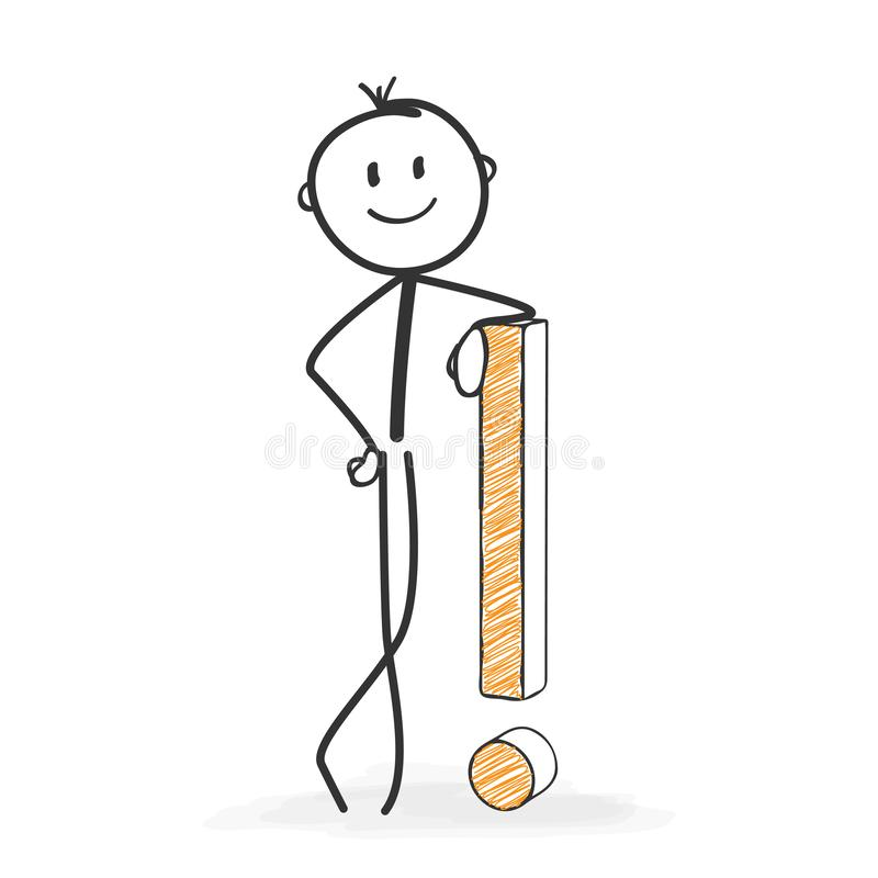 Stick Figure Cartoon - Stickman with an Exclamation Point Icon. Stick Figure in Action - Stickman with an Exclamation Point Icon. Has Found Solution. Stick Man royalty free illustration
