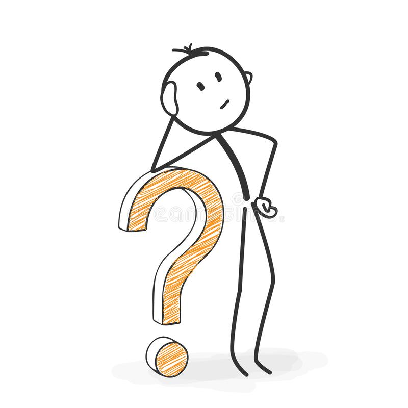 Stick Figure Cartoon - Stickman with a Question Mark Icon. Looking For Solutions. Stick Figure in Action - Stickman with a Question Mark Icon. Looking For royalty free illustration