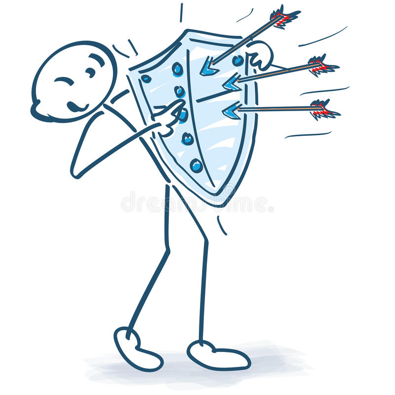 Stick figure with arrows and shield stock illustration