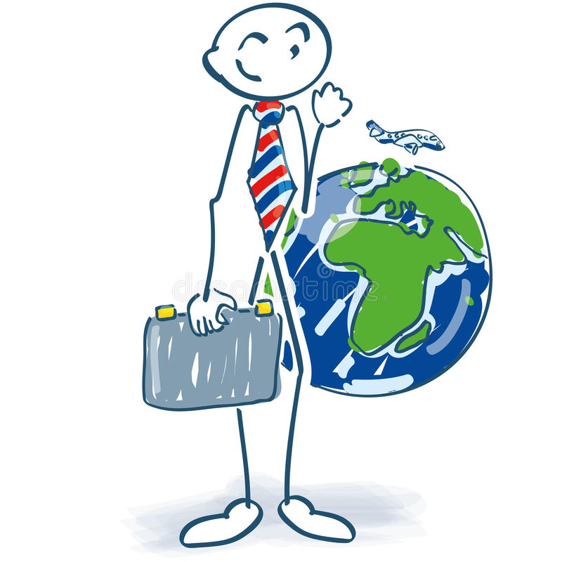 Stick figure as a businessman with suitcase and world stock illustration