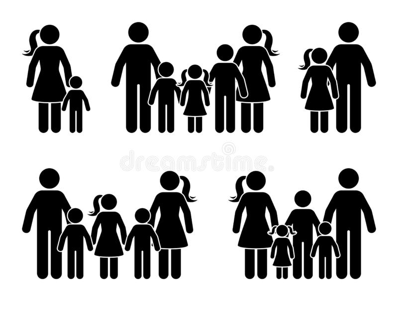 Stick figure big family icon standing together. Parents and kids isolated pictogram. Stick figure big family icon standing together. Parents and kids isolated vector illustration