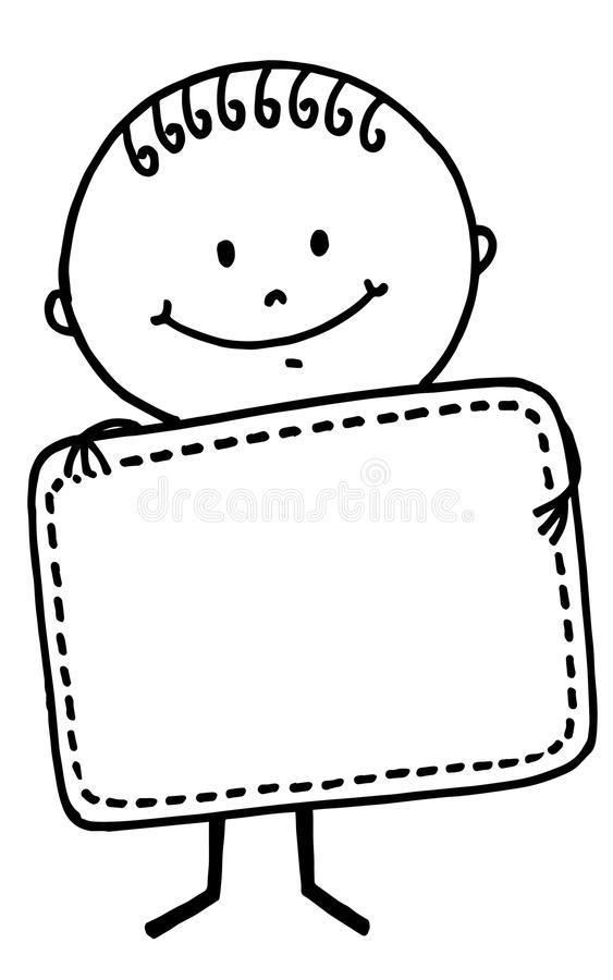Stick figure boy with board royalty free stock images