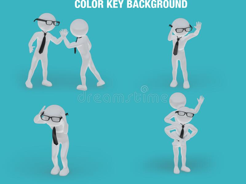Stick figure business man on a chromakey background. Stick figure business man on a chromakey background, nice addition to your project royalty free illustration