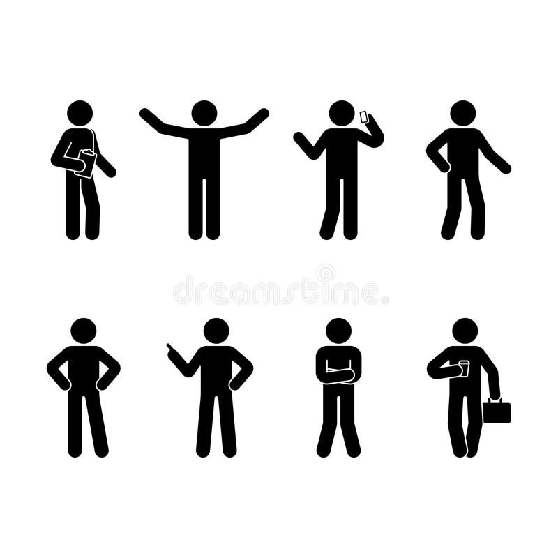 Stick figure business man standing set. Vector illustration of different human poses on white. vector illustration