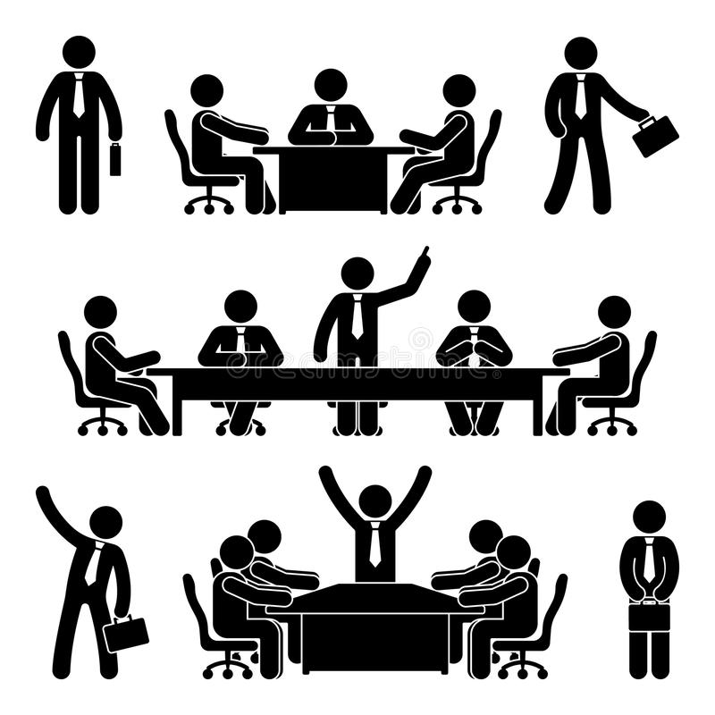 Stick figure business meeting set. Finance chart person pictogram icon. Employee solution marketing discussion. Stick figure business meeting set. Finance chart vector illustration