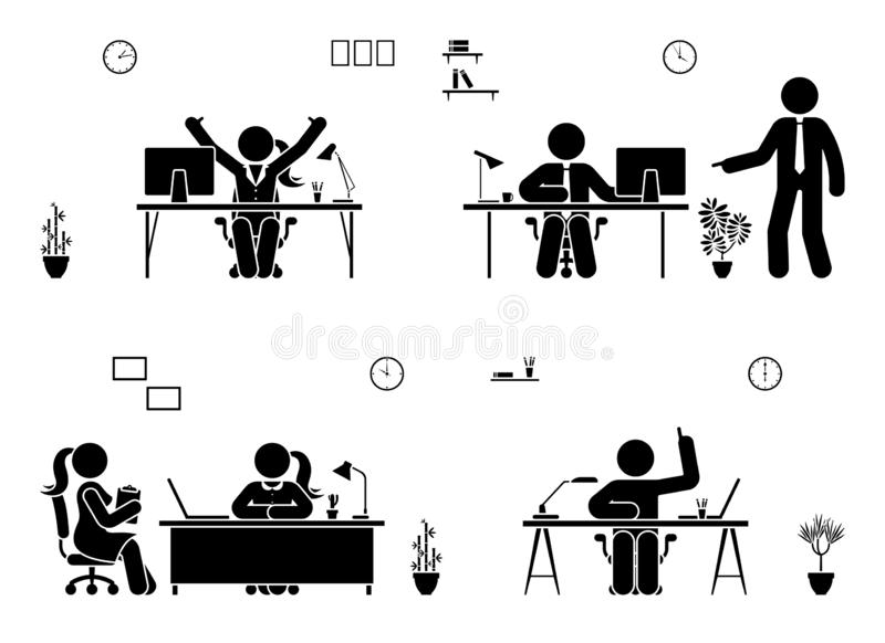 Stick figure business office vector icon people pictogram. Man and woman working, solving, reporting silhouette. Stick figure business office vector icon people royalty free illustration
