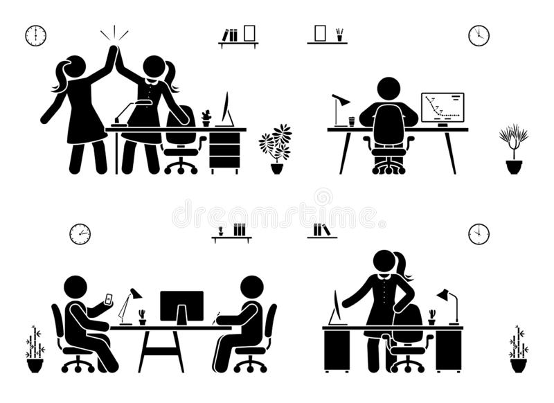 Stick figure business office vector icon silhouette on white. Men and women happy, working, sitting, reporting, writing people pic stock illustration
