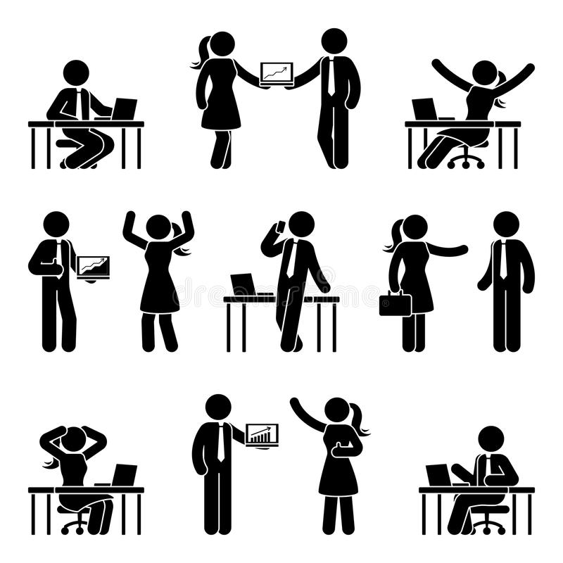 Stick figure business people icon set. Vector illustration of men and women at workplace isolated on white. Stick figure business people icon set. Vector stock illustration