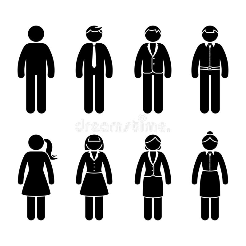 Stick figure business people standing front view black and white icon vector set. Office formal casual wear design pictogram. royalty free illustration