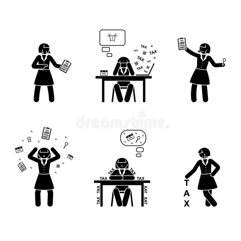 Stick figure busy accountant woman icon. Vector illustration of tax calculation on white stock illustration