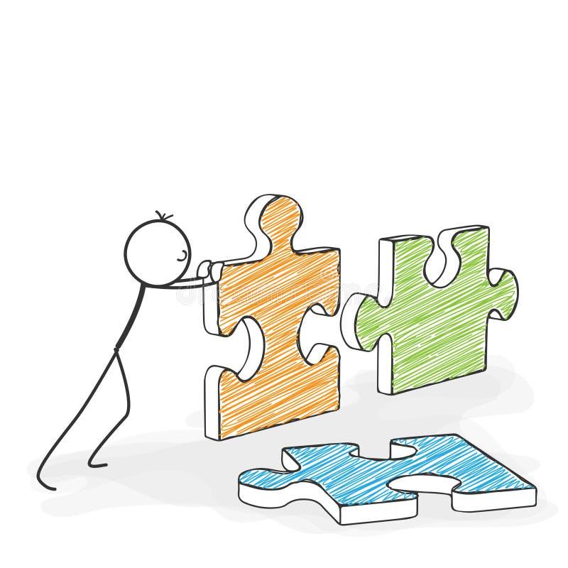 Stick Figure Cartoon - Stickman Pushes Puzzle Icons Together. Stick Figure in Action - Stickman Pushes Puzzle Pieces Together. Stick Man Vector Illustration stock illustration