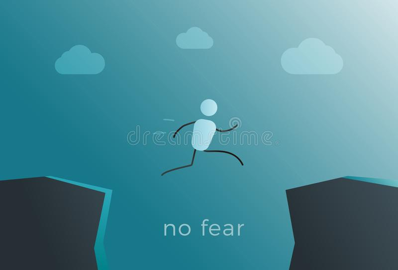 Stick figure character jumping over mountain cliffs. Leap into success representing courage, willpower, wanting to succeed. No fear quote. Vector background stock illustration