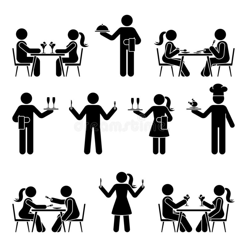 Free Stick Figure Chef Cook, Waitress, Waiter Vector Icon Pictogram. Eating At Restaurant, Dating, Hungry, Dinner Stickman Silhouette Royalty Free Stock Photos - 164223068