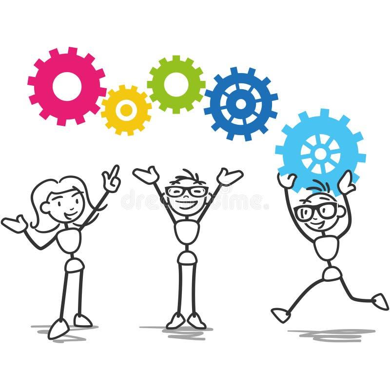 Stick figure cogs teamwork strategy royalty free illustration