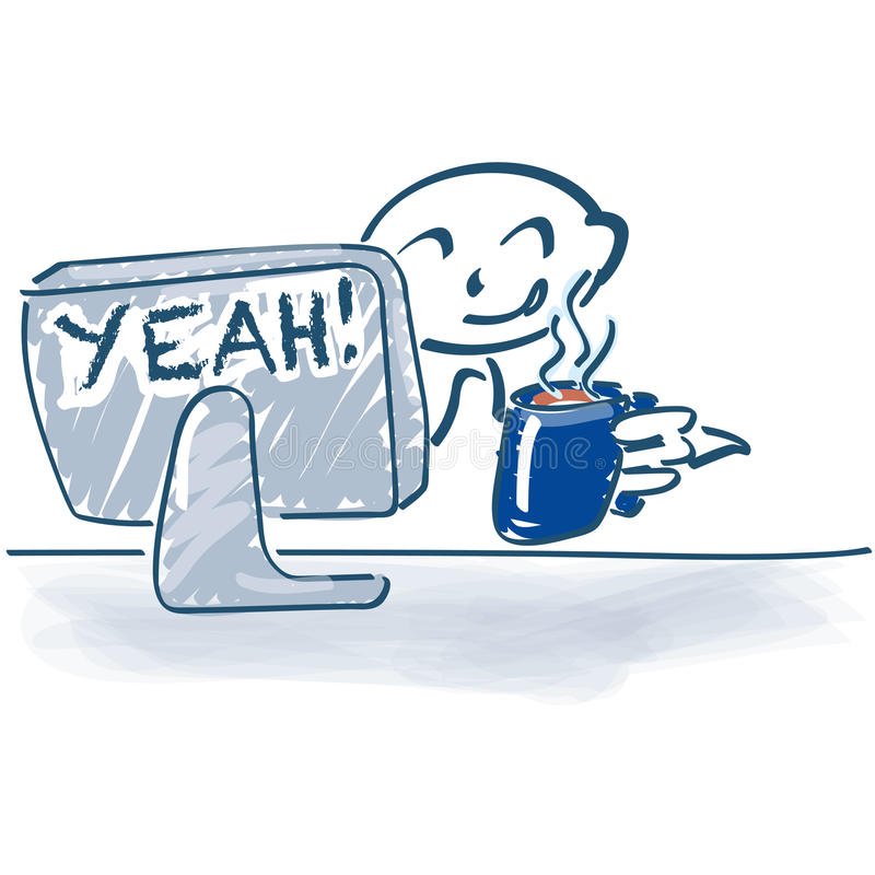 Stick figure at the computer and coffee break. Stick figure at the computer, coffee break and yeah the work is done vector illustration