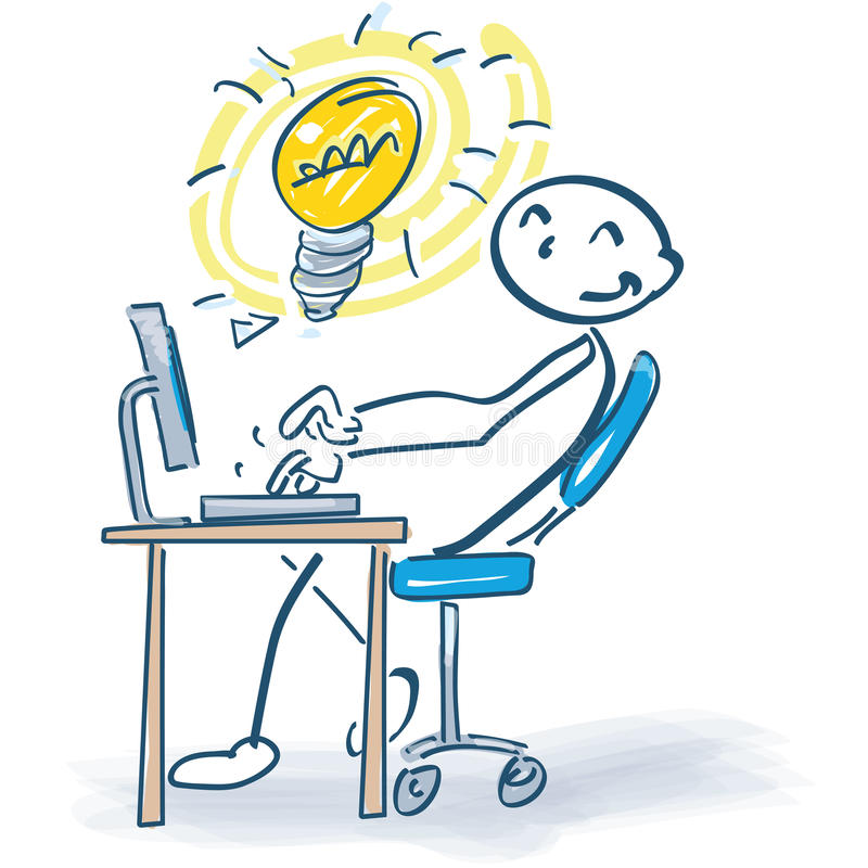 Stick figure at the computer with a good ideas. Stickman at the computer with a good ideas vector illustration