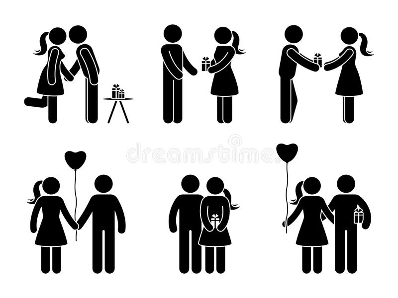 Stick figure couple with gift set. Man and woman in love vector illustration. Boyfriend and girlfriend hugging, giving present. Stick figure couple with gift vector illustration