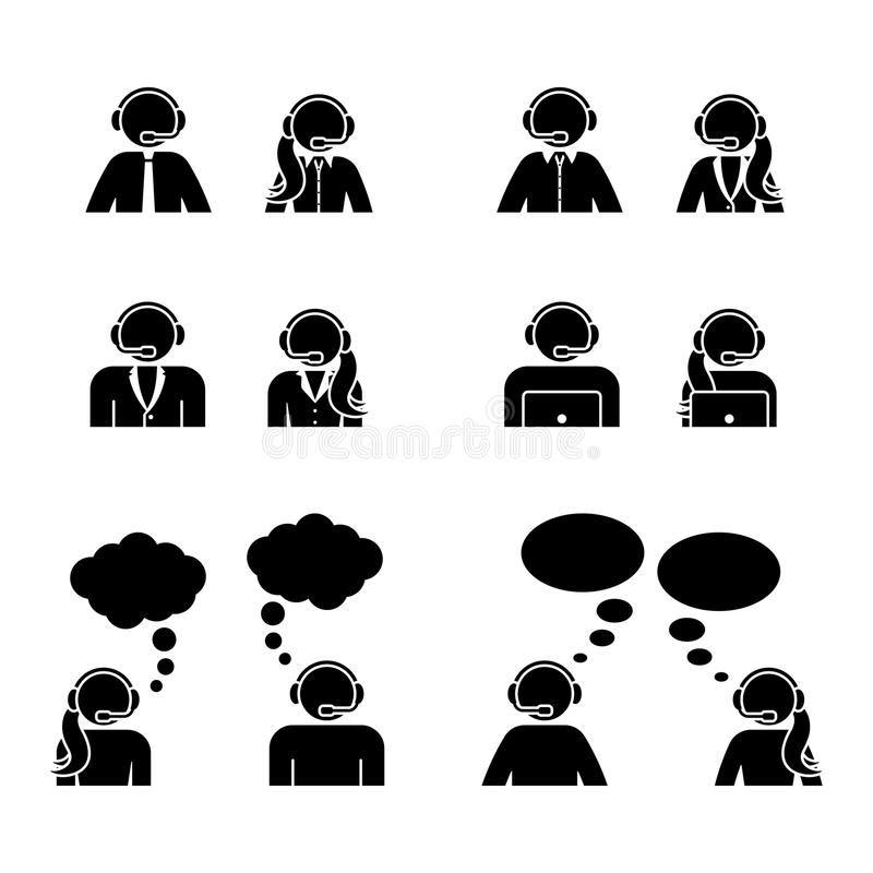 Stick figure customer support center icon set. Vector illustration of man and woman service workers on white. stock illustration