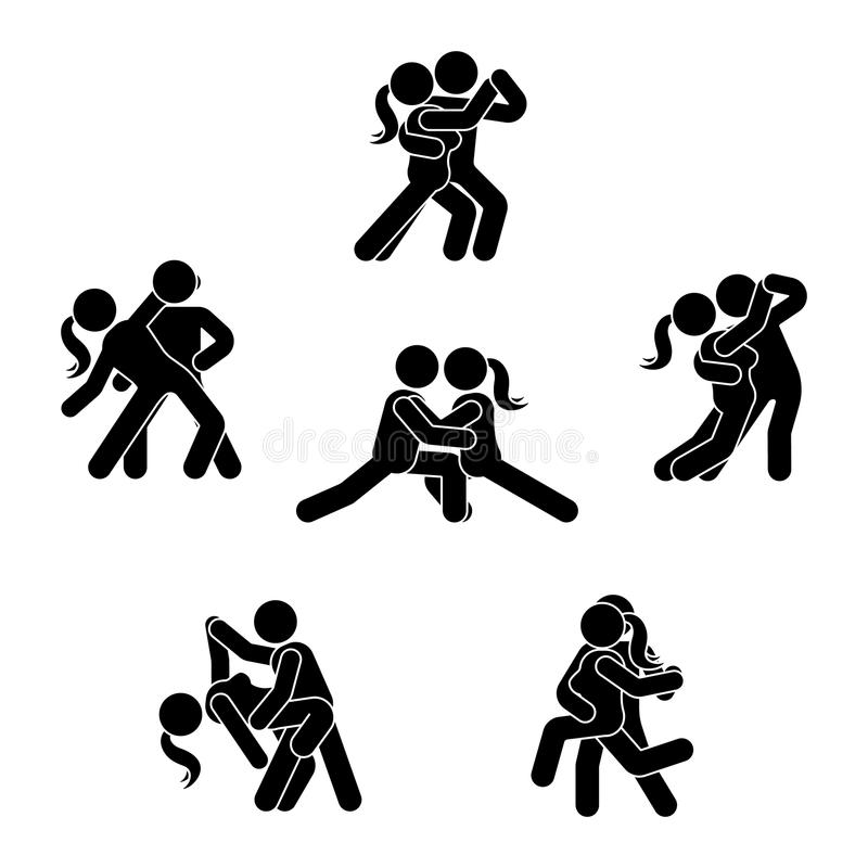 Stick figure dancing couple set. Man and woman in love illustration on white. Boyfriend and girlfriend kissing, hugging. vector illustration