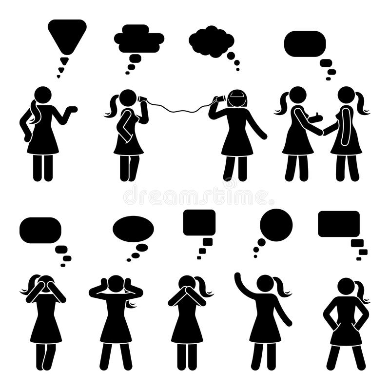 Stick figure dialog speech bubbles set. Talking, thinking, whispering body language woman conversation icon pictogram. Stick figure dialog speech bubbles set vector illustration