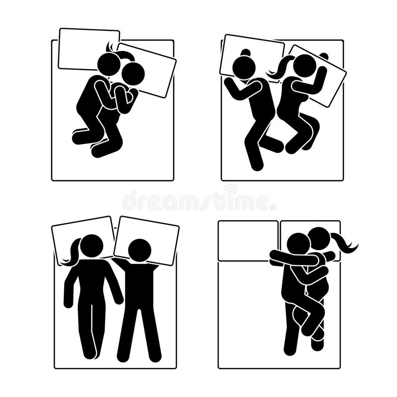 Stick figure different sleeping position set. Vector illustration of different dreaming couple poses icon symbol pictogram on. Stick figure different sleeping royalty free illustration