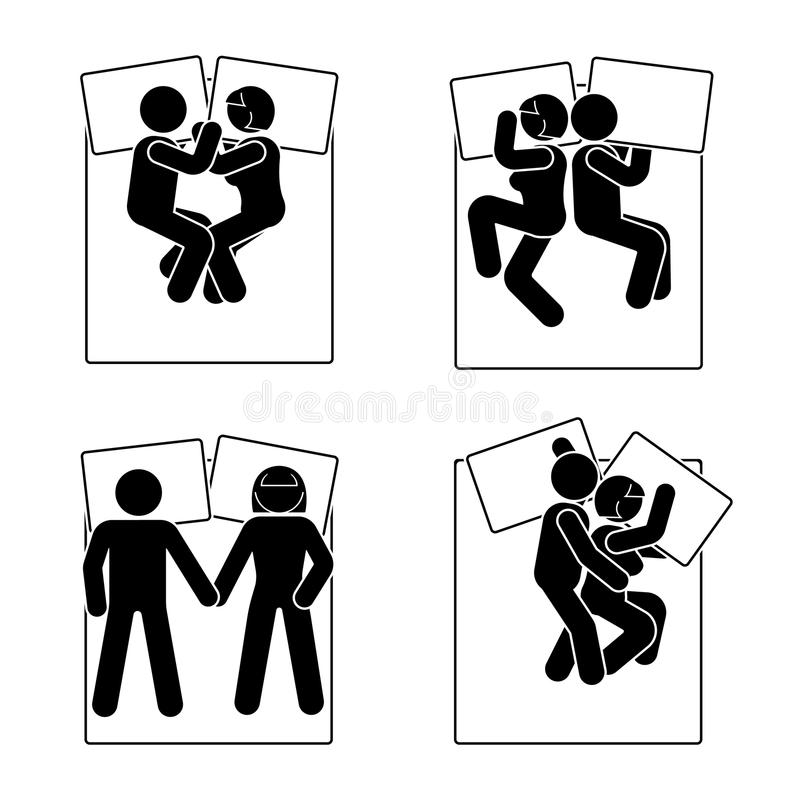 Stick figure different sleeping position set. Vector illustration of different dreaming couple poses icon symbol sign pictogram. Stick figure different sleeping royalty free illustration