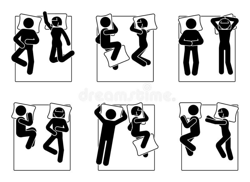 Stick figure different sleeping positions set. Man and woman laying in bed postures. Stick figure different sleeping positions set. Man and woman laying in bed vector illustration