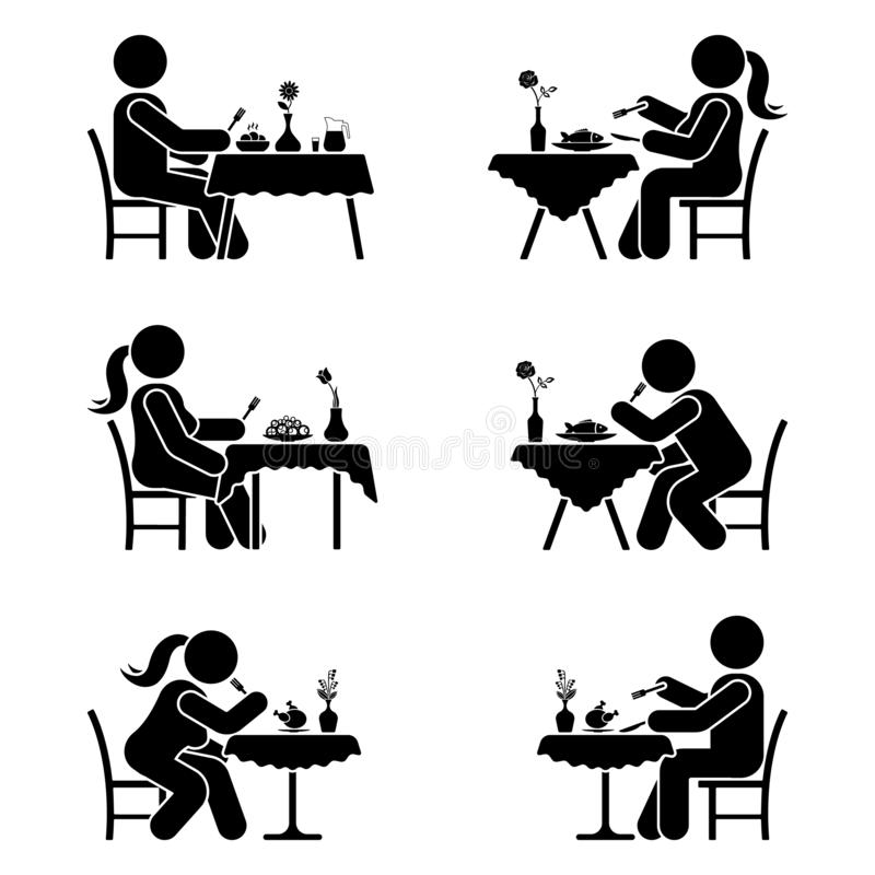 Stick figure eating pictogram set. Man and woman alone at the restaurant. vector illustration