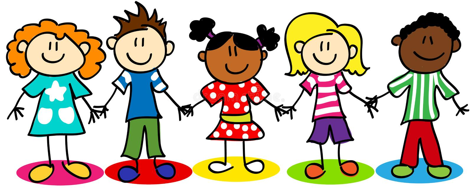 Stick figure ethnic diversity kids vector illustration