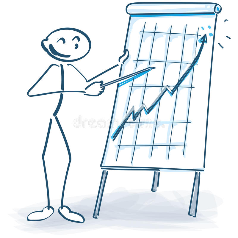Stick figure with a flip chart and it goes up. Stick figure with a flip chart and the business goes up stock illustration